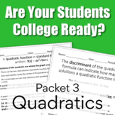Are You College Ready? Packet 3 - Quadratics {TSI/ACCUPLACER}