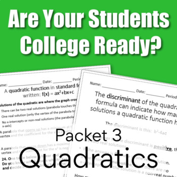 College Readiness Math Packet 3 - Quadratics {TSI ...