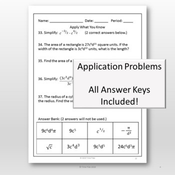 Are You College Ready? Packet 4 - Radicals, Roots and Exponents {TSI/ACCUPLACER}