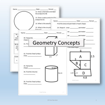 Are You College Ready? Packet 5 - Geometry Skills (TSI/ACCUPLACER)