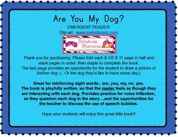 Are You My Dog? Emergent Sight Word Reader/Book
