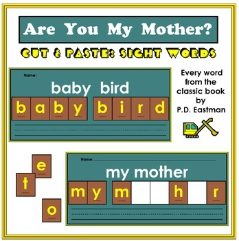 Are You My Mother? Cut and Paste Sight Words