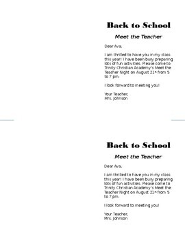 Are You My Teacher? Back to School Note Card