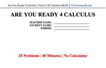 Are You Ready 4 Calculus - MC Test 2