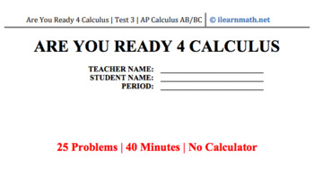 Are You Ready 4 Calculus - MC Test 3