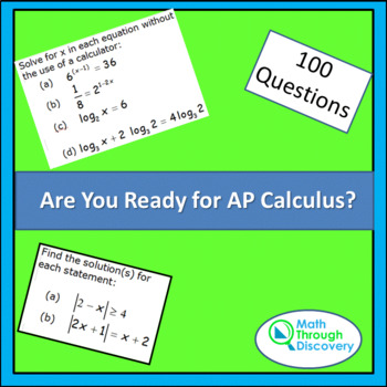 Calculus:  Are You Ready for Calculus AP?