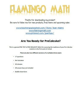 Are You Ready for PreCalculus PRE-TEST