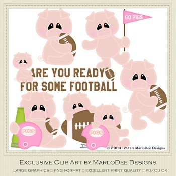 Are You Ready for Some Football? Pigs Clip Art Graphics