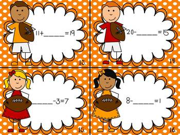 """Are You Ready for """"Sum"""" Football? (Addition and Subtraction to 20)"""