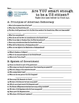 Are You Smart Enough to be a US Citizen? -- Citizenship Exam