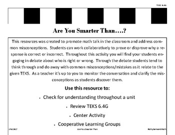 Are You Smarter Than...? TEKS 6.4G
