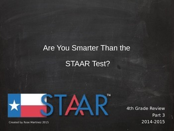 Are You Smarter Than the STAAR test review  4th grade VERSION 3