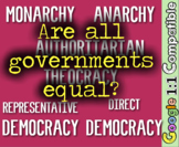 Government: Monarchy, Theocracy, Democracy, Republic, Anarchy, Authoritarian!