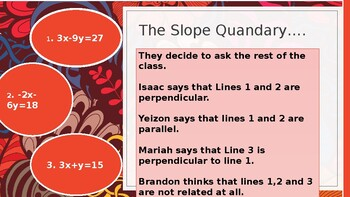 Are the slopes parallel, perpendicular, or neither?