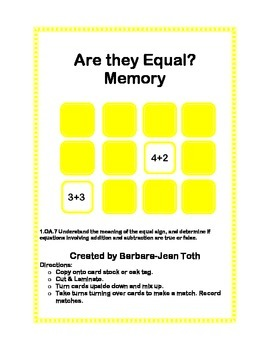 Are they equal? Memory
