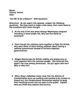 Are we to be a nation?  DVD Questions