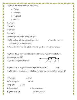 6th Grade Math STAAR Review Quiz