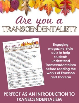 Are you a Transcendentalist? Quiz -- Perfect as an intro to Transcendentalism