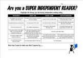 Are you a super independent reader?  Self assessed rubric
