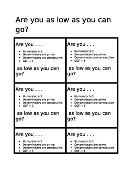 Are you as low as you can go?  Fractions