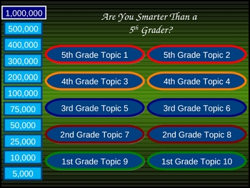Are you smarter than a 5th grader ppt game