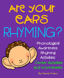 Phonological Awareness Rhyming Activities- Center Activities and Worksheets