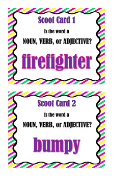 Are You a Noun, Verb, or Adjective!  Parts of Speech Scoot!