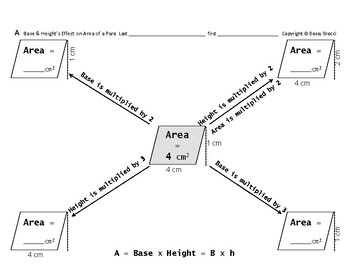 Area 08: Calculating Area + Base & Height's Effect on Area of a Parallelogram