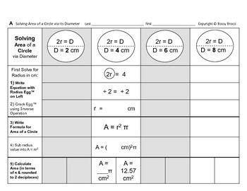 Area 14: Solve Area of Circle via Diameter & Changing Diam, Radius Effect + QUIZ