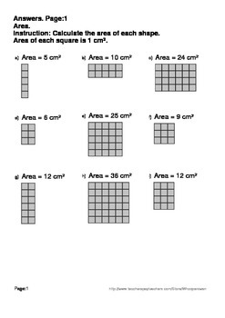 Area Worksheets (Using Grid)