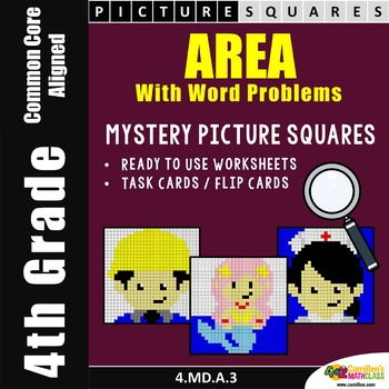 Area Word Problems Worksheets, Mystery Pictures