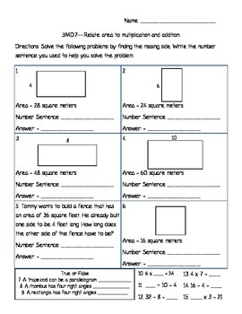 Area - 3.MD.7 - Relating Area to Multiplication and Division