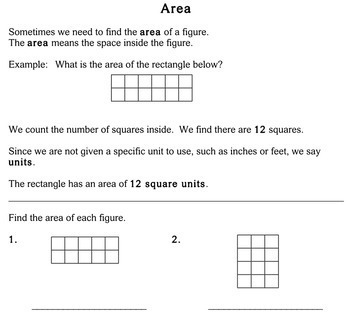 Area, 3rd grade - Individualized Math - worksheets