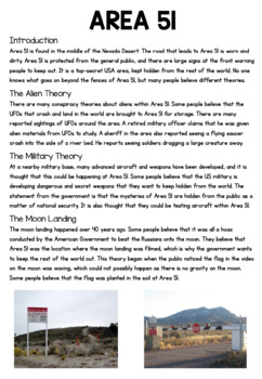 Area 51 Information Sheet