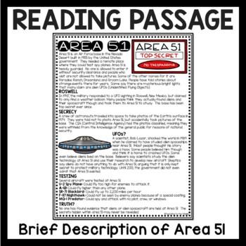 Area 51 Reading Comprehension Worksheet Aliens UFO Unexplained