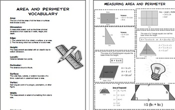 Area and Perimeter Projects, Math Enrichment; Plus Vocabulary