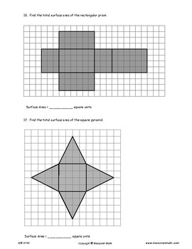 Area And Surface Area Assessment