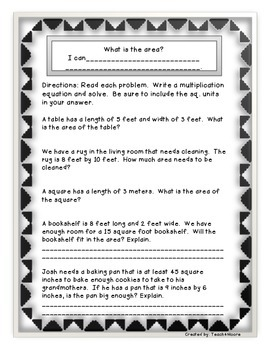 Area Assessments and Word Problems
