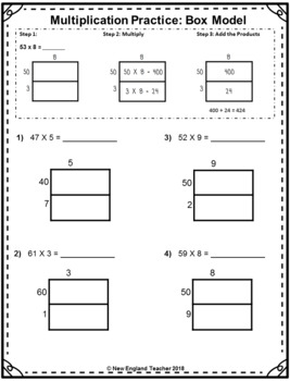 Area Box Model Multiplication Printable Worksheets for 2 ...