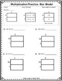 Area Box Model Multiplication Printable Worksheets for 2-digit by 1-digit