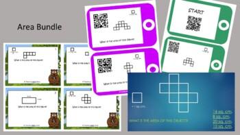 Area Bundle - Area Scoot, QR Code Area Task Cards, QR Code Area Scavenger Hunt