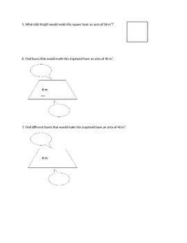Area Challenge Worksheet