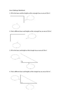 Area Challenge Worksheet