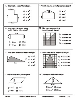 circumference and area test pdf