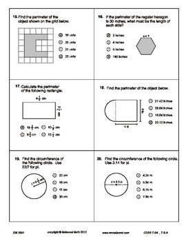 Area, Circumference And Perimeter Test And Study Guide