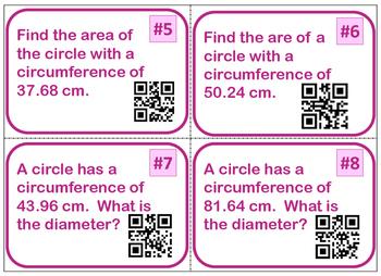 Circle Area & Circumference Task Cards