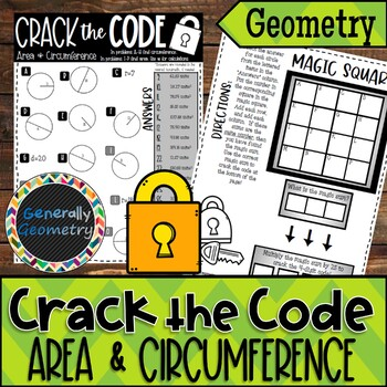 Area & Circumference Crack the Code Worksheet; Circles, Pi Day Activity