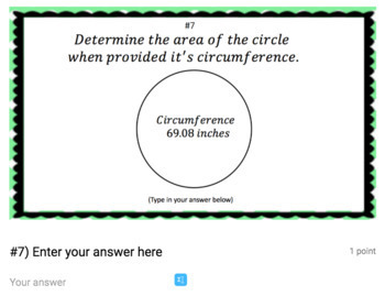 Area & Circumference Google Form Bundle – Perfect for Google Classroom!