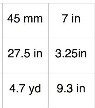 Area, Circumference, Radius and Diameter Matching Cards