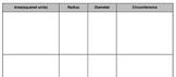 Area, Circumference, Radius and Diameter Matching Cards Handout